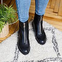 Ботинки женские кожаные черные осень/весна (натуральная итальянская кожа)