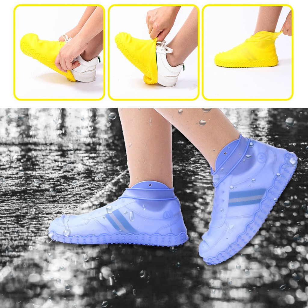 Силиконовые чехлы бахилы для обуви от дождя и грязи Waterproof Silicone Shoe S M L размеры