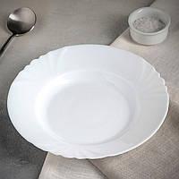 Тарілка суповаз білої склокераміки Luminarc Cadix 230мм (J6691)