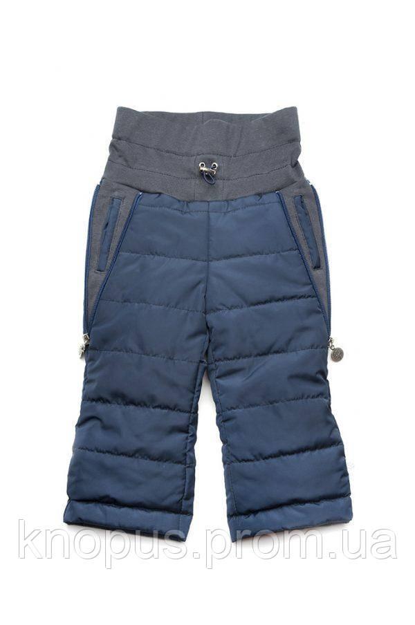 Детские штанишки-трансформеры утепленные из плащевой ткани , синие  (размер 68-80), Модный карапуз