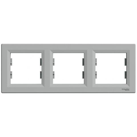 Рамка 3-постовая горизонтальная цвет алюминий Asfora Schneider EPH5800361