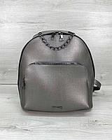 Серый женский мини рюкзак 46711 маленький на молнии с ручкой цепочкой, фото 1