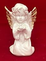 Сувенир статуэтка ангела Девочка с голубем, золото, 18 см