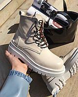 Ботинки женские демисезонные кожаные белые