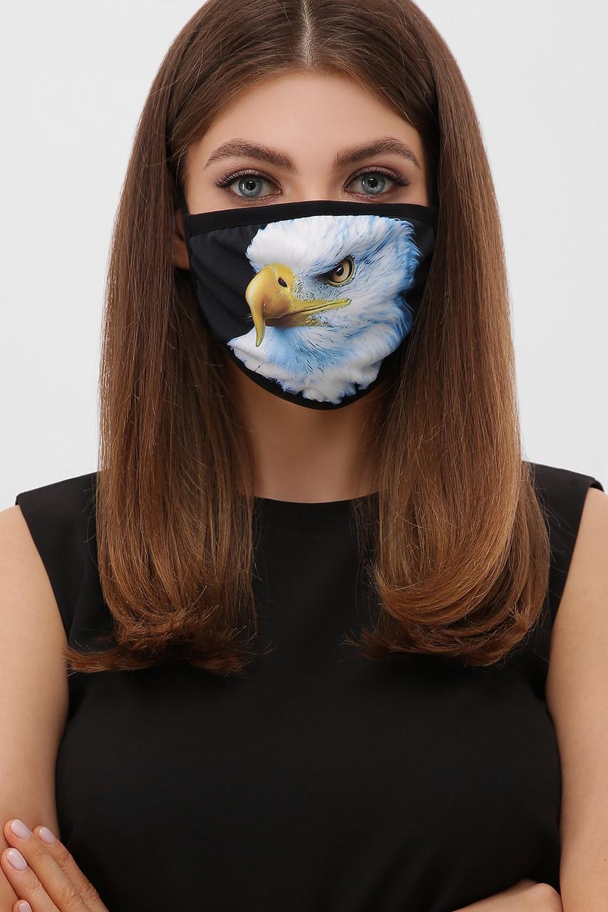Защитная тканевая многоразовая маска с принтом