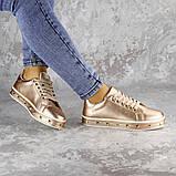 Женские стильные кроссовки Fashion Freddy 1011 36 размер 22 см Золотистый, фото 6
