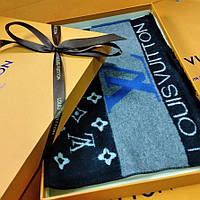 Стильный брендовый мужской кашемировый двусторонний шарф Луи Виттон премиум класс. Коробка пакет лента.