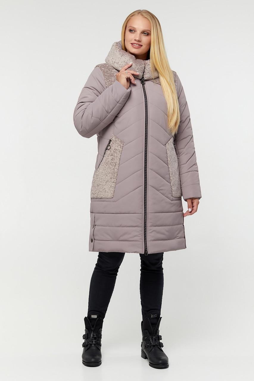 Теплая зимняя батальная куртка с карманами и капюшоном 54 56 58 60 размер