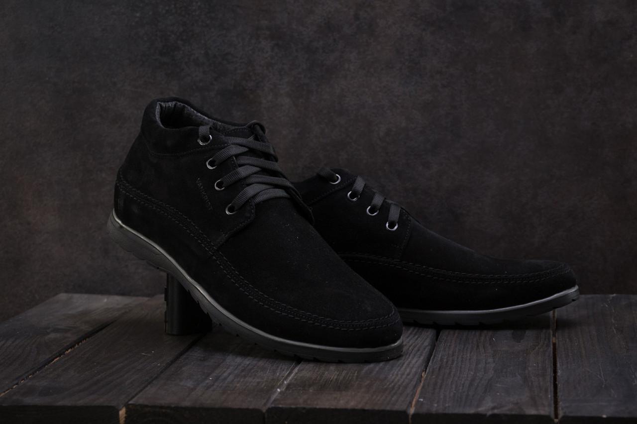 Мужские ботинки замшевые зимние черные Vankristi 927