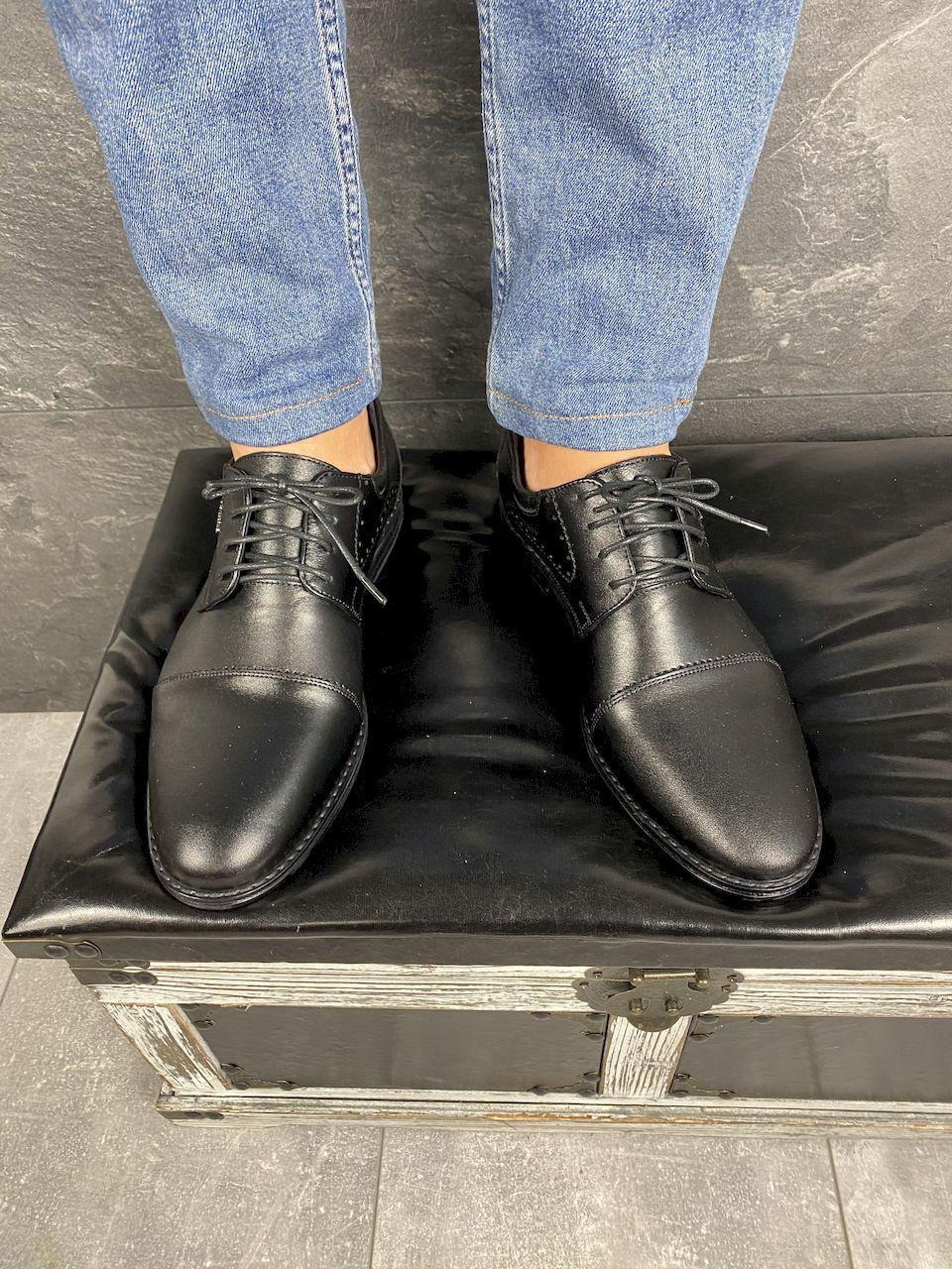 Мужские туфли кожаные весна/осень черные Vivaro 555