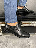 Мужские туфли кожаные весна/осень черные Vivaro 555, фото 2