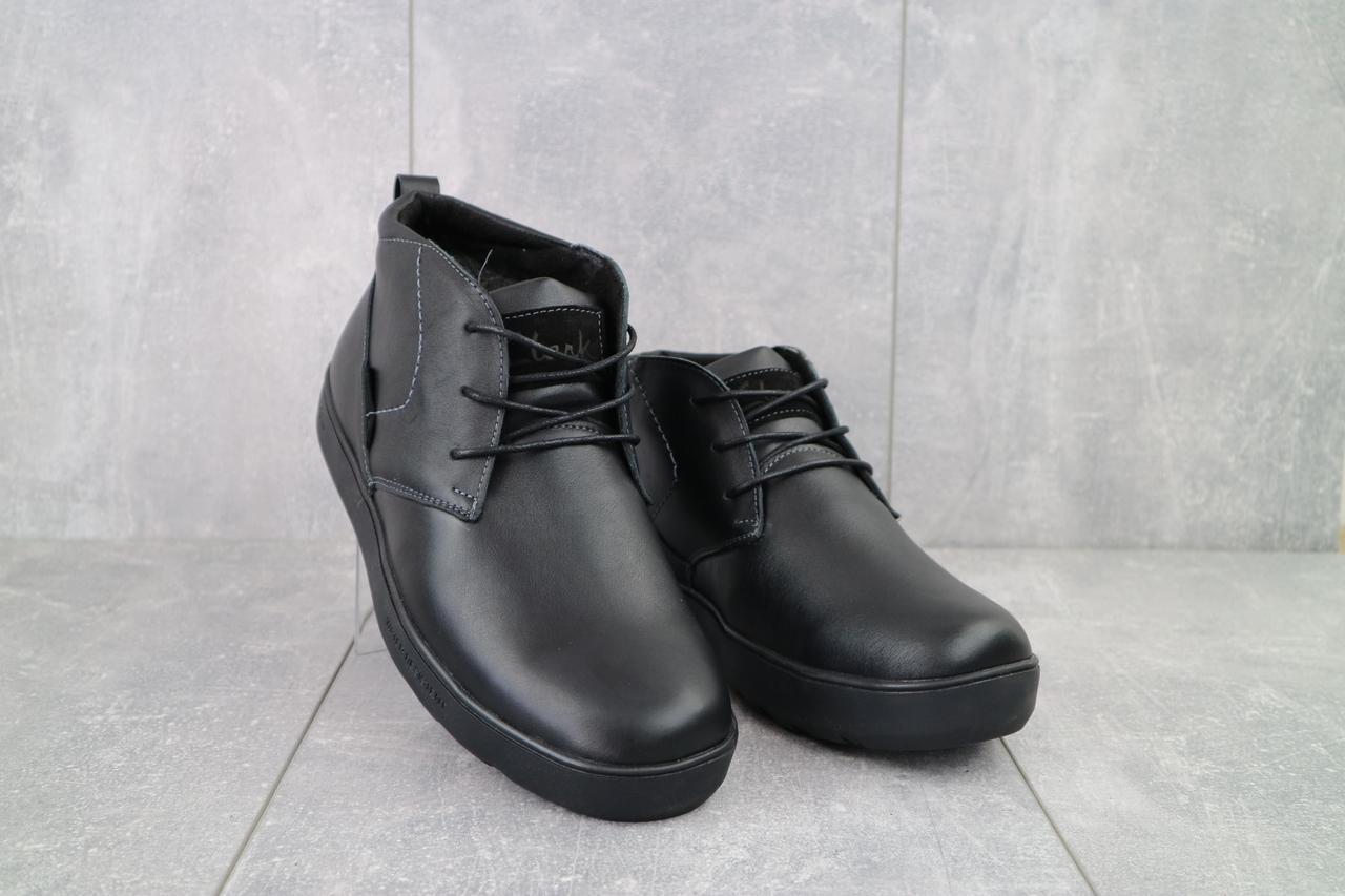 Мужские ботинки кожаные зимние черные Yuves 777chorn