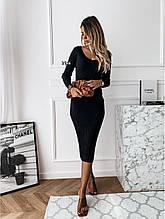 Платье женское миди с длинным рукавом. Размер: 42-46. Цвет: белый, чёрный, пудра.