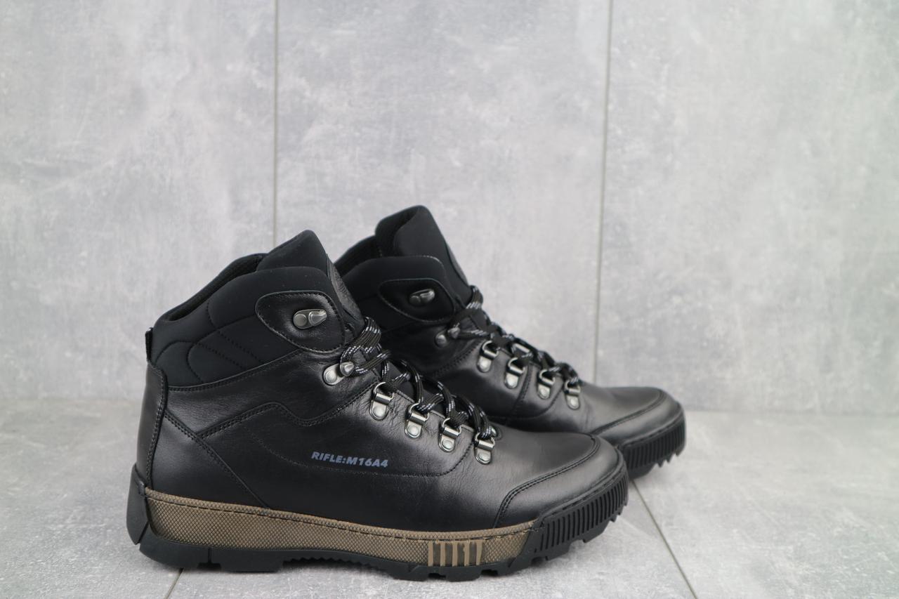 Мужские ботинки кожаные зимние черные Norman 016