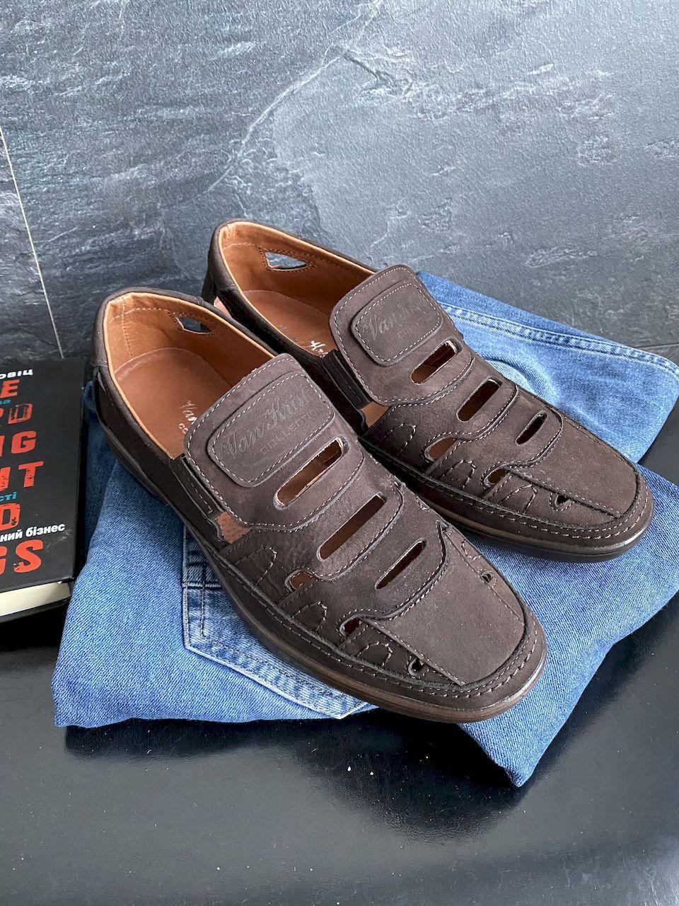 Мужские сандали замшевые летние коричневые Vankristi 1151