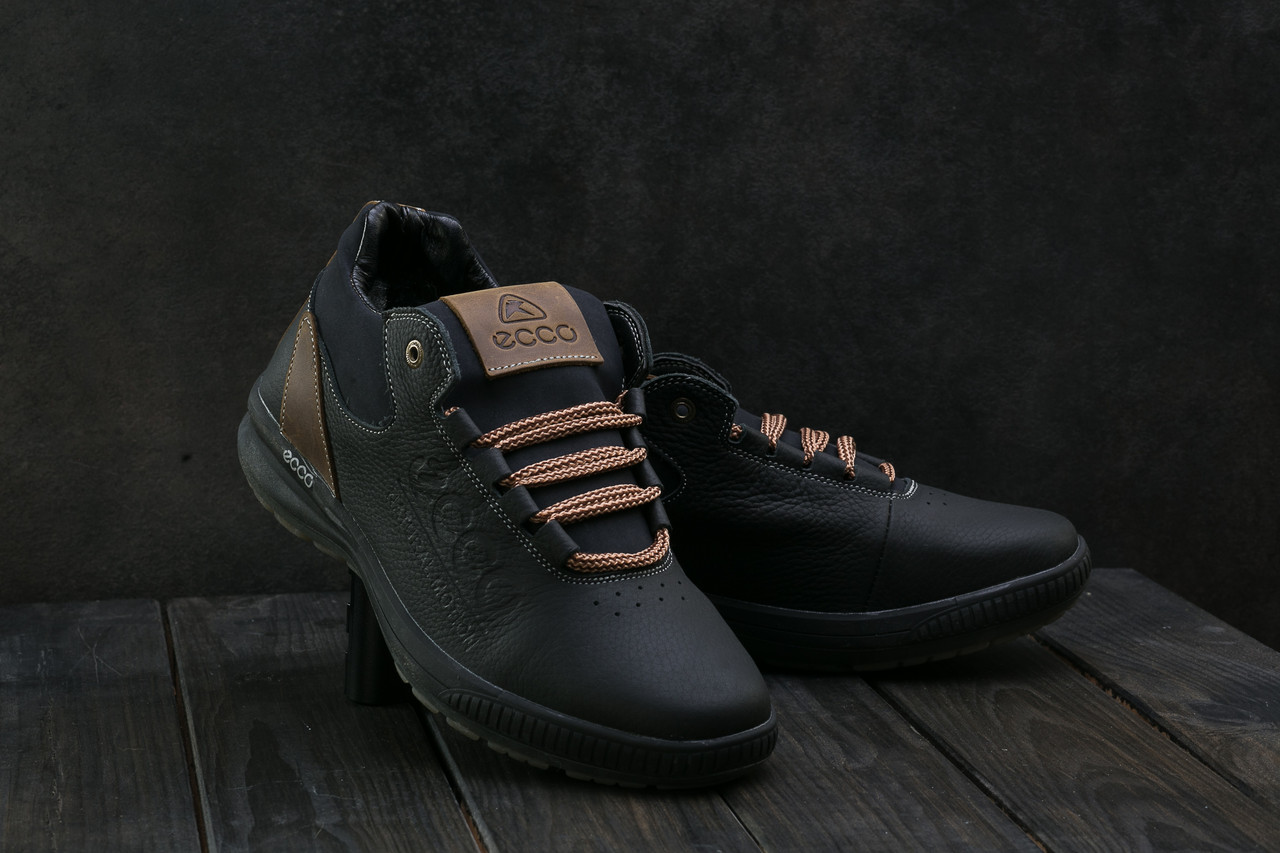 Мужские кроссовки кожаные зимние черные CrosSAV 38
