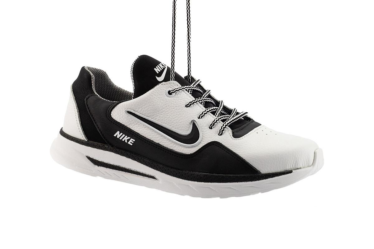 Мужские кроссовки кожаные весна/осень белые-черные CrosSAV 316 Sport