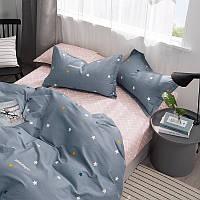 Комплект постельного белья Bella Villa сатин Евро синий со звездами.