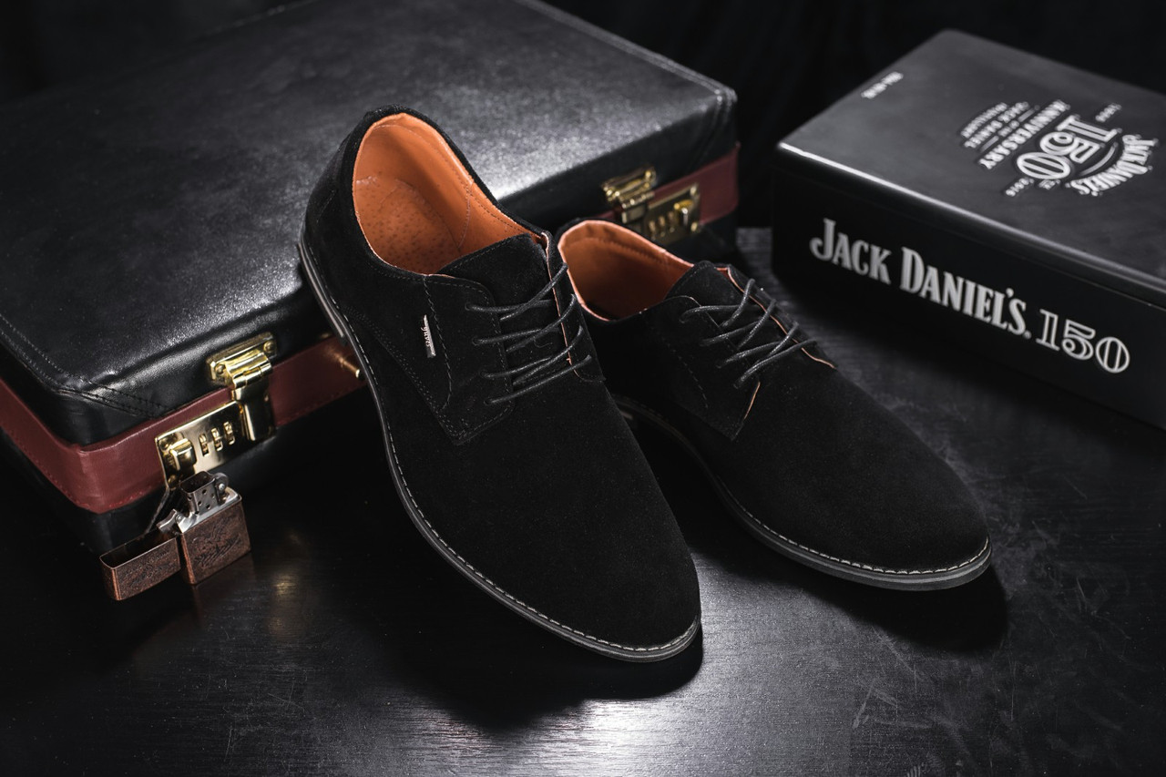 Мужские туфли замшевые весна/осень черные на шнурках Yuves М5 (Trade Mark)