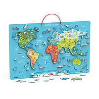 Пазл магнитный Viga Toys Карта мира с маркерной доской, на английском (44508EN), фото 1