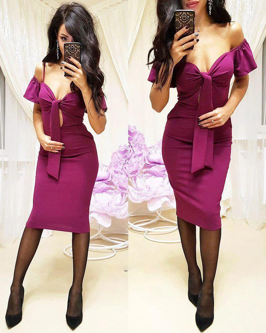 Платье облегающее миди с открытыми плечами