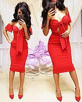 Платье облегающее миди с открытыми плечами, фото 2