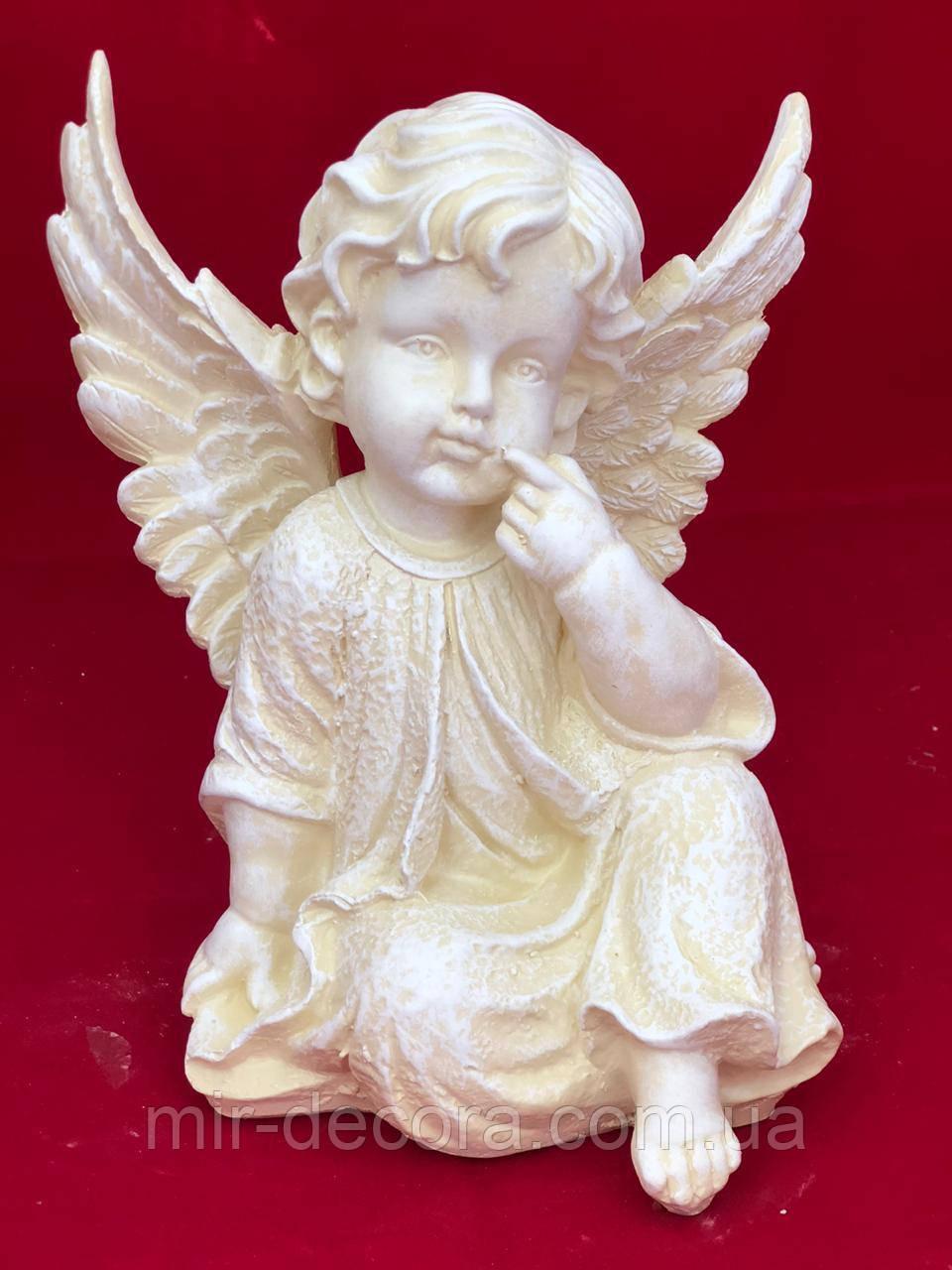 Статуэтка Ангел Крылатик сидячий, слонов кость, 24 см