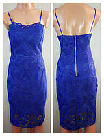 Женское ажурное платье миди, на тонких бретелях, синее, XS-S