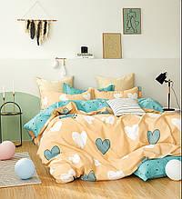 Комплект постельного белья Bella Villa сатин полуторный желтый с голубым.
