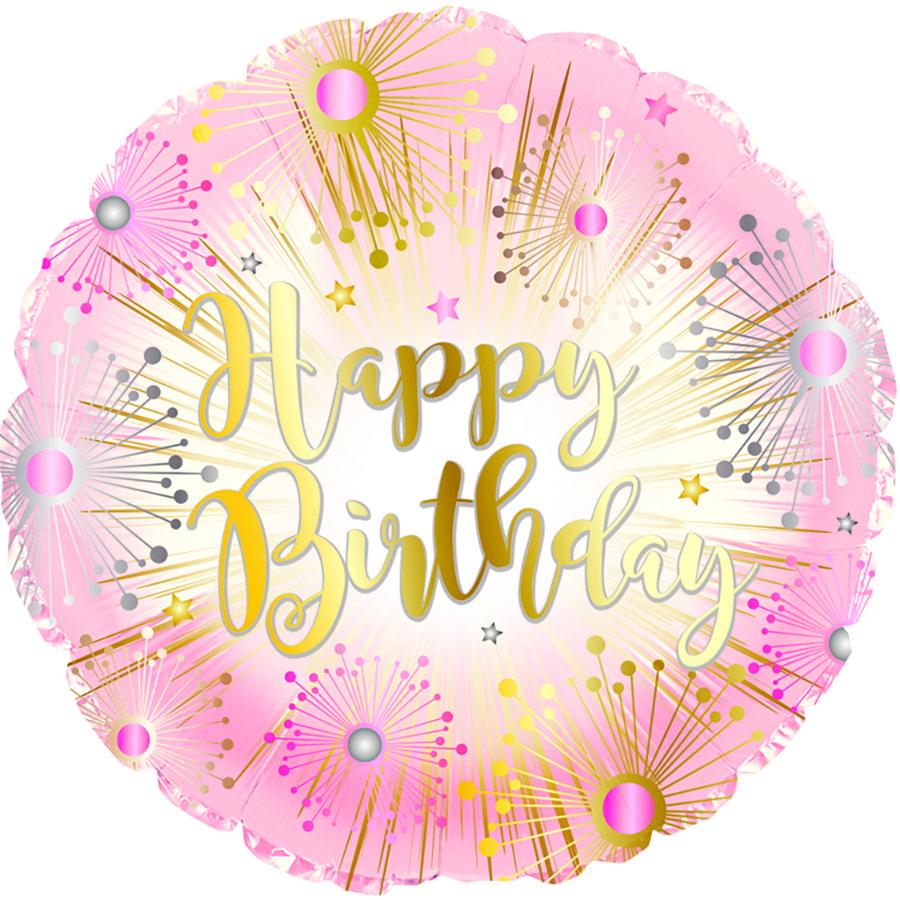 """С 17"""" Happy Birthday Rose Gold Balloon. Праздничный фольгированный шар С Днем рождения!"""
