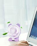 (УЦЕНКА) (минимальный дефект) Аккумуляторный ручной мини вентилятор с ушками CS1192 фиолет (162416), фото 3