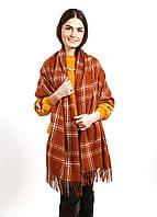 Теплый шарф палантин 185*73см, акрил/кашемир «Mulberry» коричневый в клетку