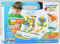 Конструктор-мозаика Сreative Pazzle 193 детали с шуруповертом