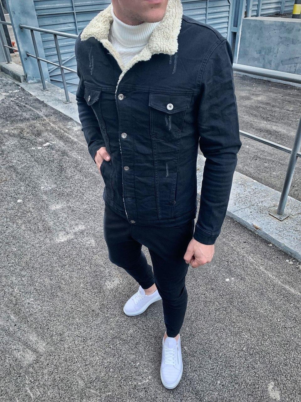 Куртка мужская джинсовая на меху черная (демисезон/еврозима)