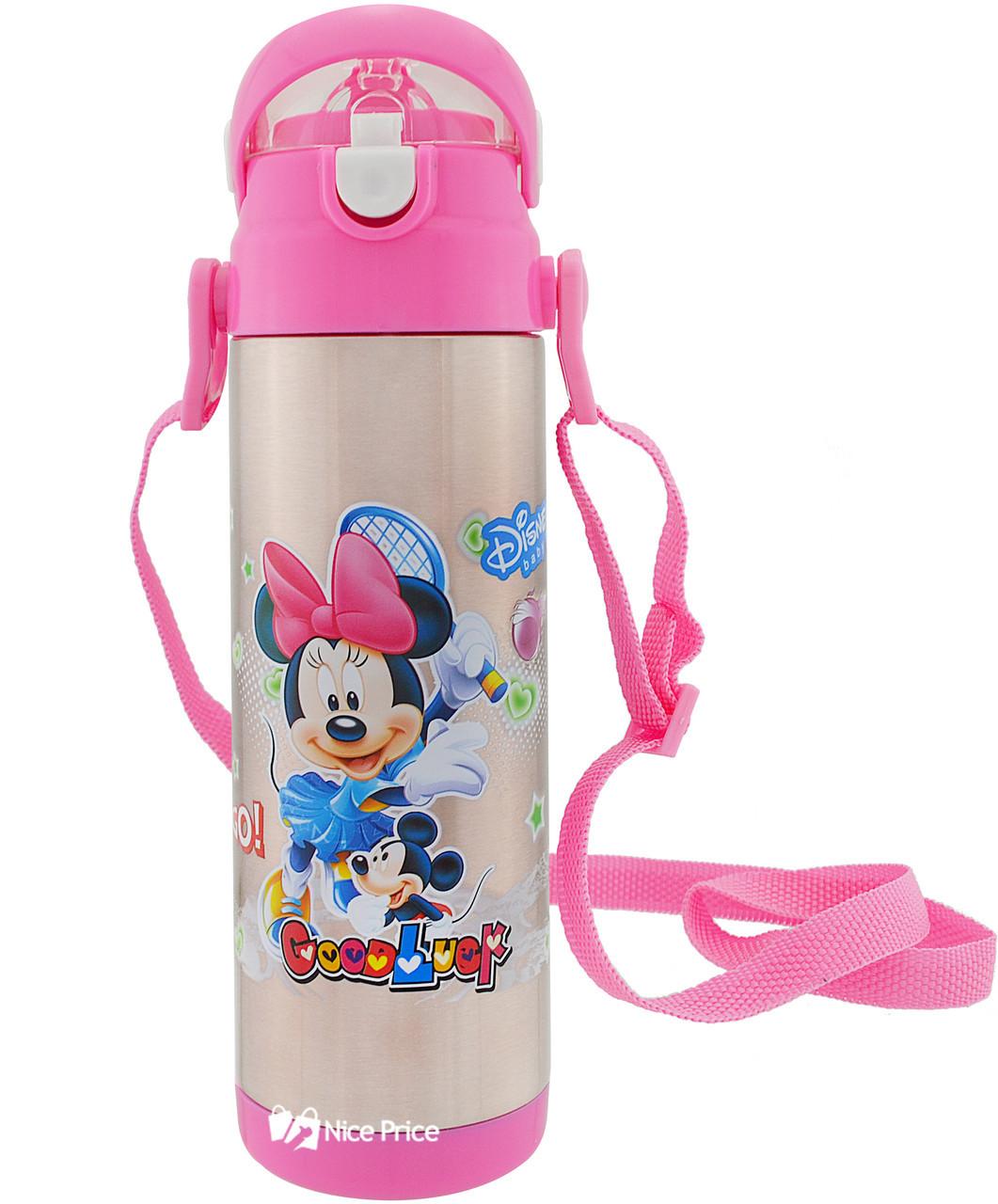 Термос детский с поилкой и шнурком на шею Disney 9030-500 500мл Микки Маус Розовый УЦЕНКА (154210)