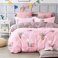 Комплект постельного белья Bella Villa сатин полуторный розовый со слониками.