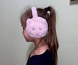 Меховые наушники детские котик, детские меховые наушники котики, ушки меховые наушники детские из эко меха, фото 3