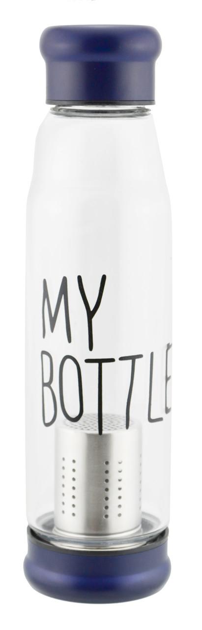 Стеклянная бутылка My Bottle 550 мл с ситечком для заварки темно-синий Уценка(121319)
