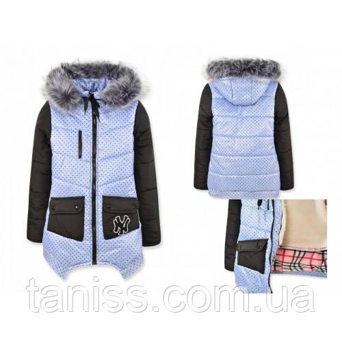 Зимняя куртка-пальто для девочек, жилет, капюшон,опушка съемные р.104,110,116,122,134,140,146 звездочка