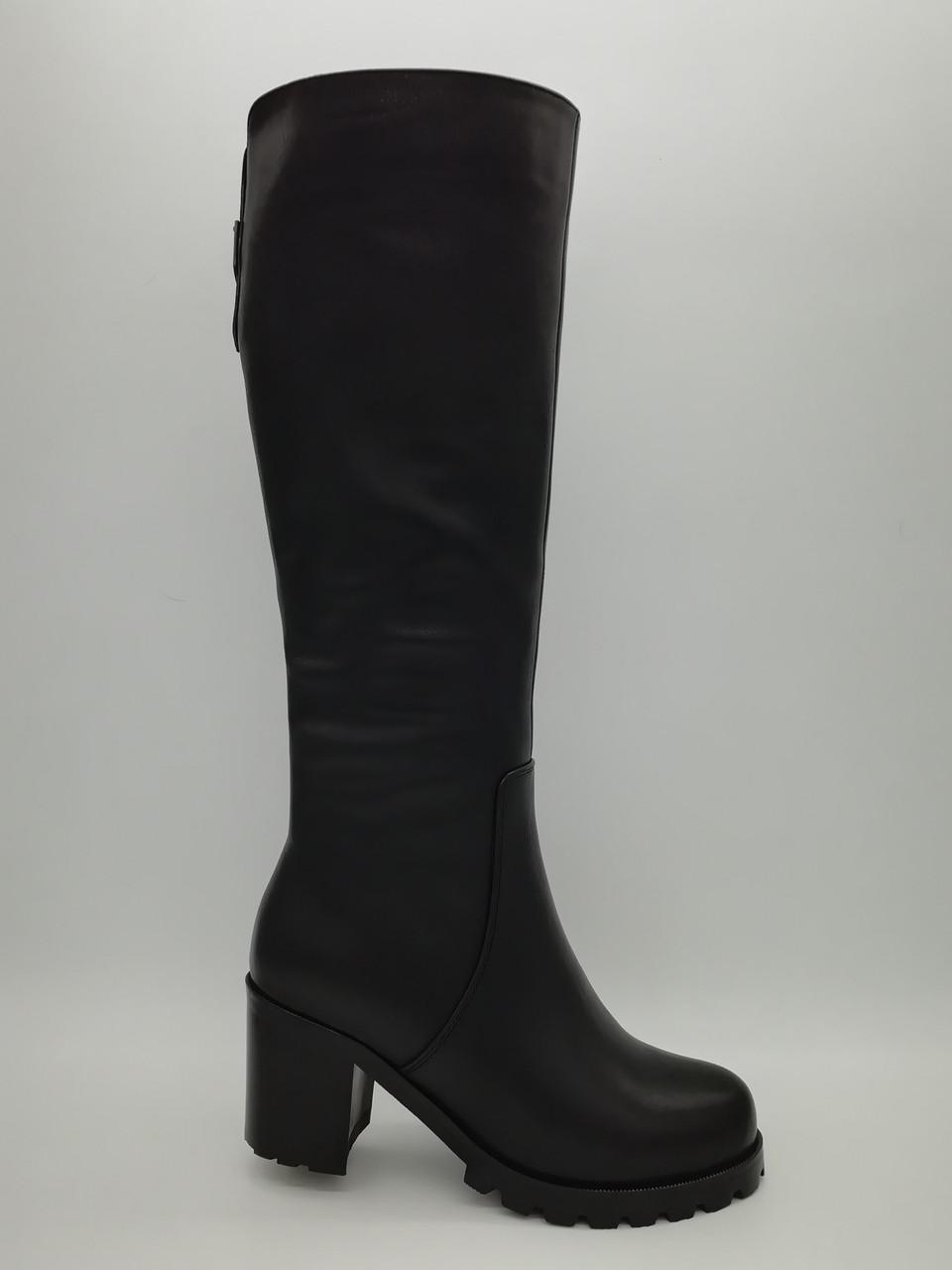 Чорні шкіряні зимові чоботи. Erisses. Маленькі розміри ( 33 - 35 ).