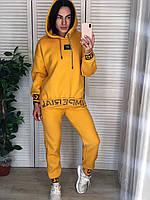 Жіночий бавовняний утеплений спортивний костюм,жовтий.Туреччина, фото 1