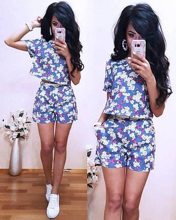 Костюм шорти і футболка з принтом в квітка, фото 2