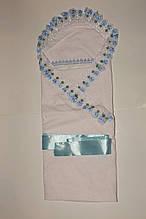 Конверт для новорожденного прошва белый с голубым.