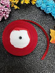Репсовая лента красного цвета, ширина 1,2 см (12 мм), длина рулона 23 м.
