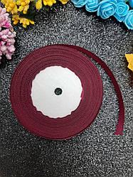Репсовая лента бордового цвета, ширина 1,2 см (12 мм), длина рулона 23 м.