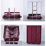 Складной тканевый шкаф, шкаф для одежды Storage Wardrobe 88130 на 3 секции Brown, фото 5