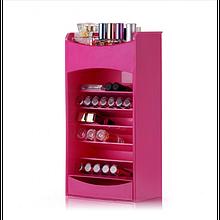 Настільний ящик органайзер для зберігання косметики Cosmake рожевий