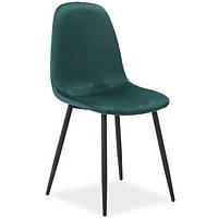 Зеленые стулья Signal Fox Velvet с бархатной обивкой на черных ножках для кухни в стиле лофт