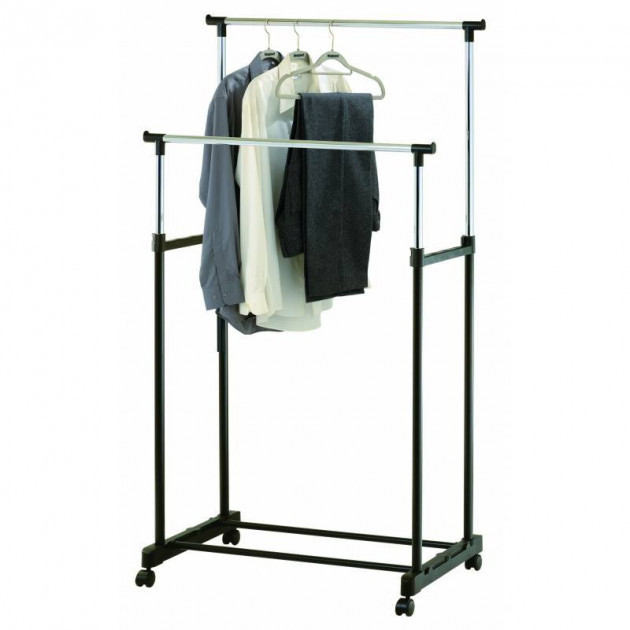 Вішалка стійка для одягу підлогова подвійна телескопічна Double-Pole Clothes-horse N6806 (14035)