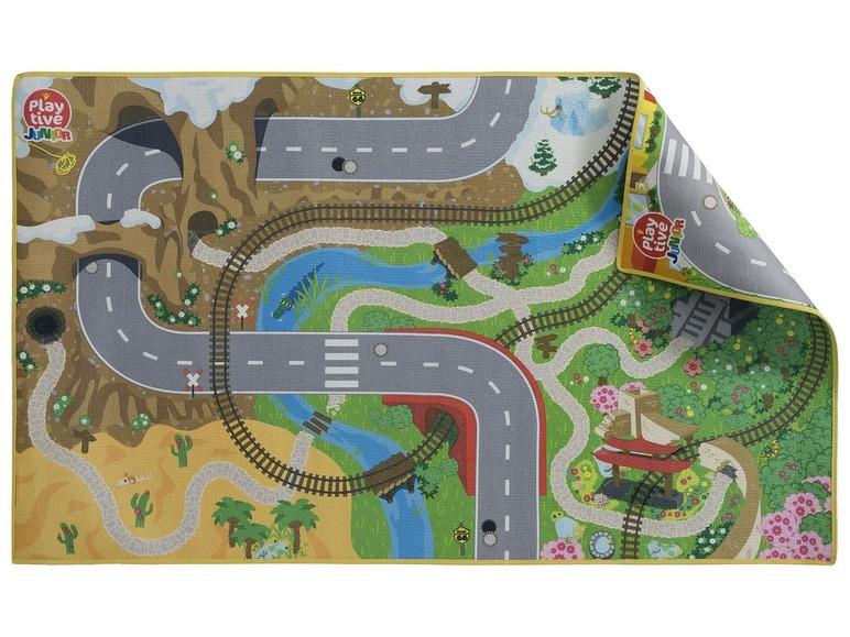 """Двусторонний игровой коврик """"Вокруг мира - Мегаполис"""" для деревянной железной дороги PlayTive Junior"""